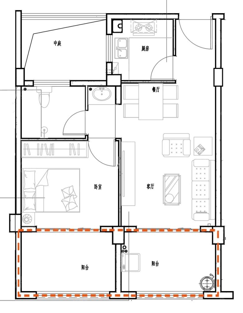 花硒谷1室2厅1卫户型图