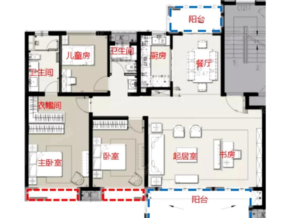海门绿地长滩3室2厅2卫户型图
