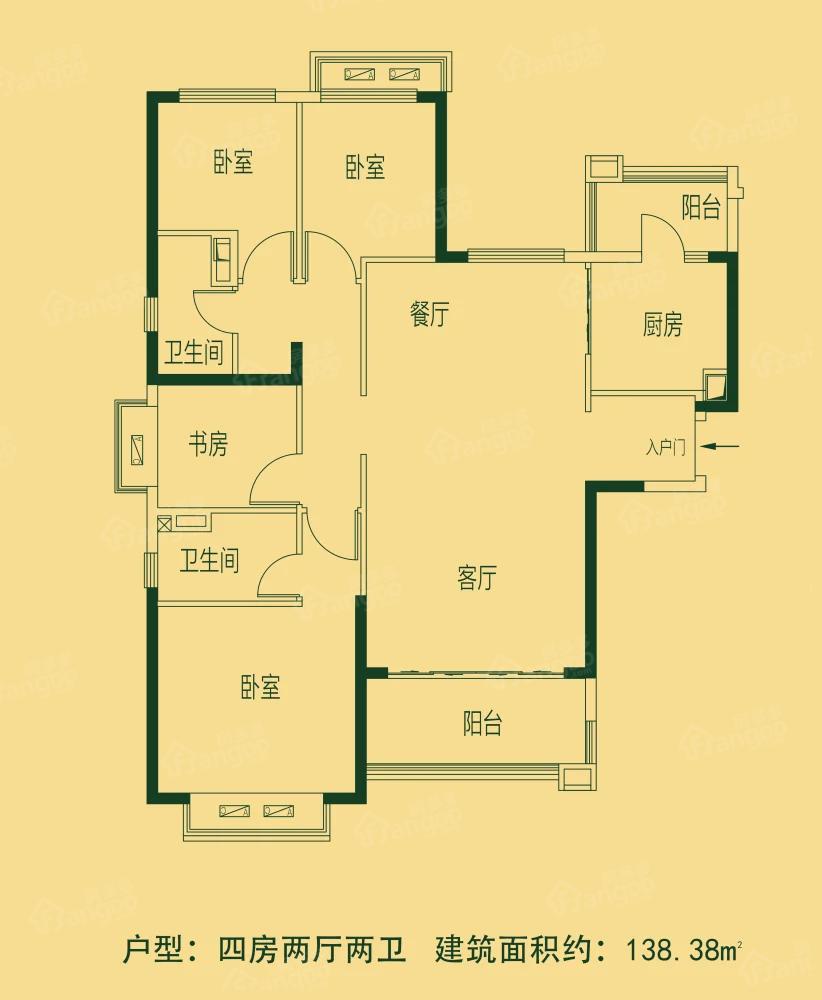 亳州恒大林溪郡4室2厅2卫户型图