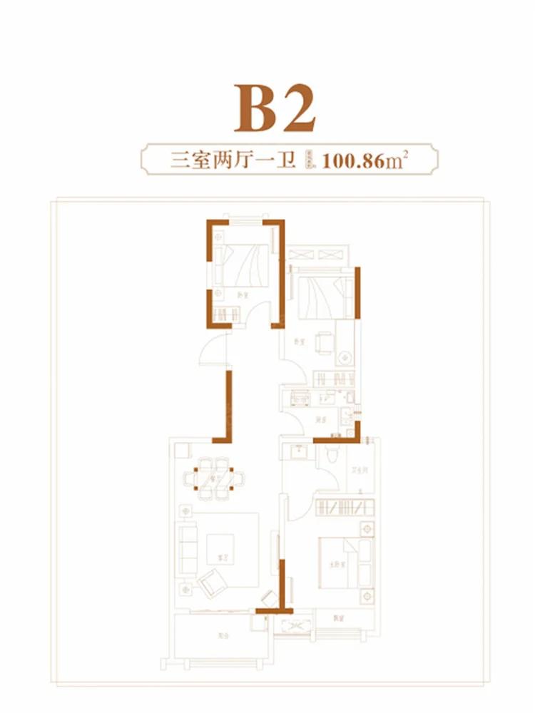 正商城3室2厅1卫户型图