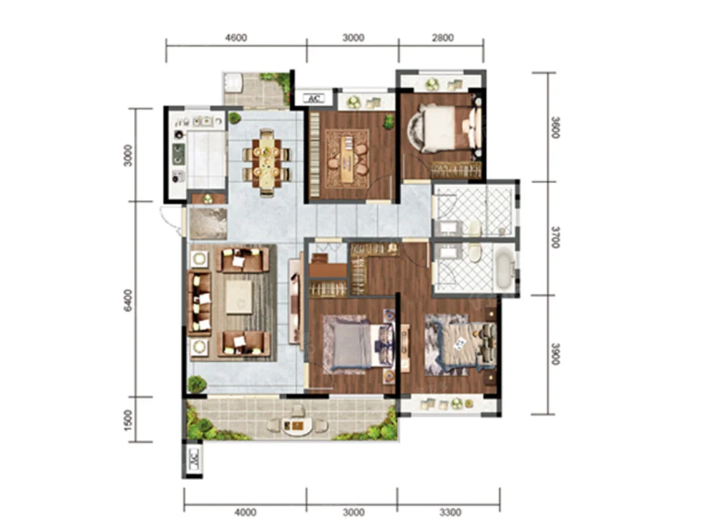 电建地产·安康洺悦府4室2厅2卫户型图