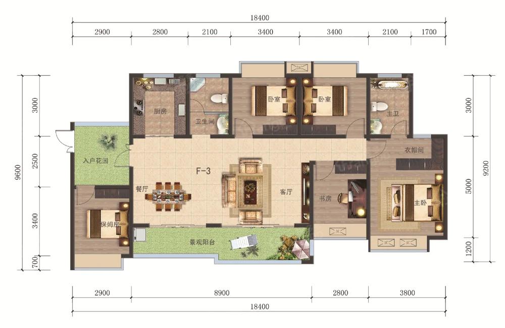 海悦现代城5室2厅2卫户型图