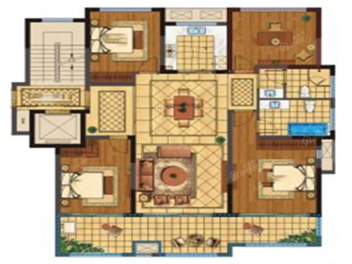 新湖玫瑰园4室2厅2卫户型图