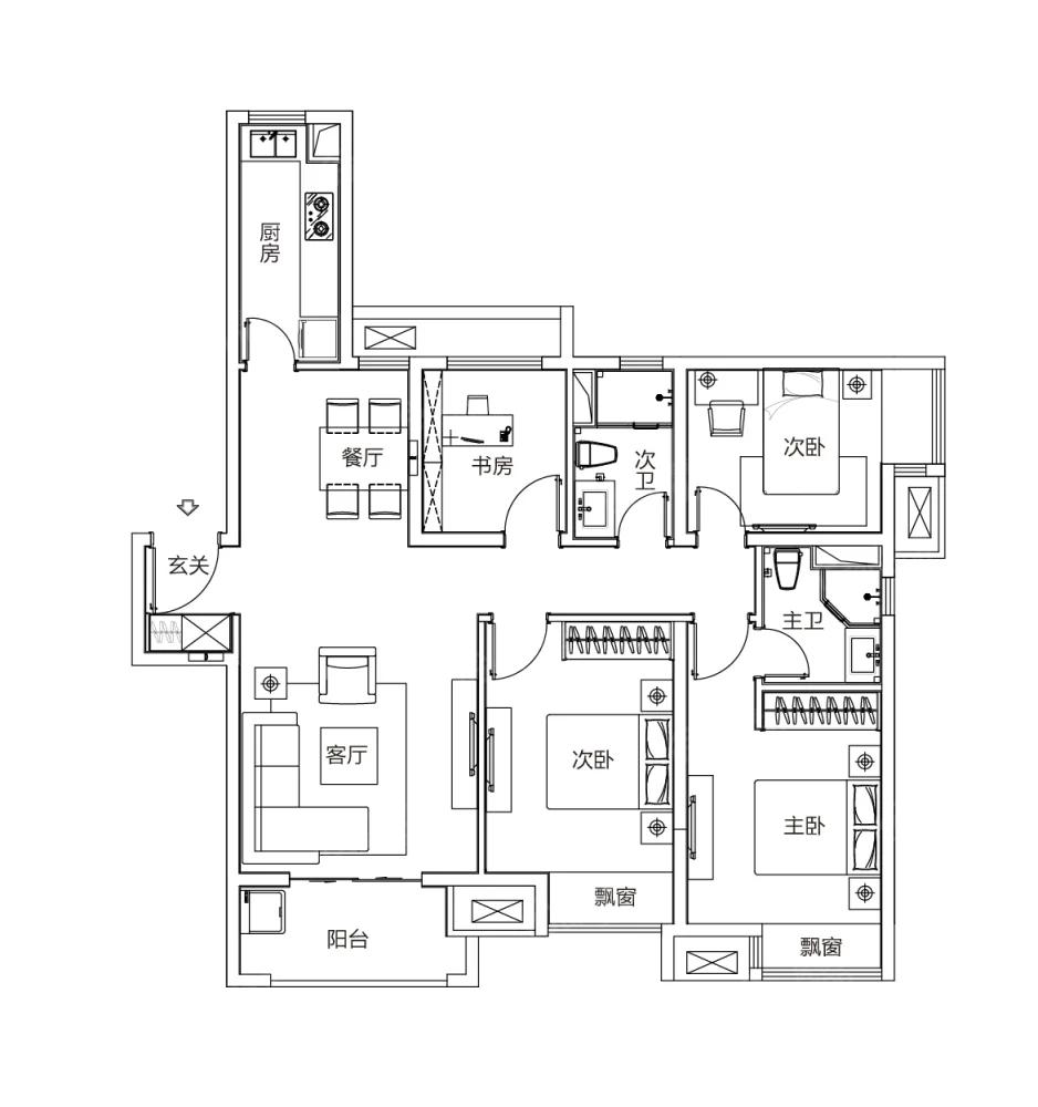 富力乌衣水镇4室2厅2卫户型图