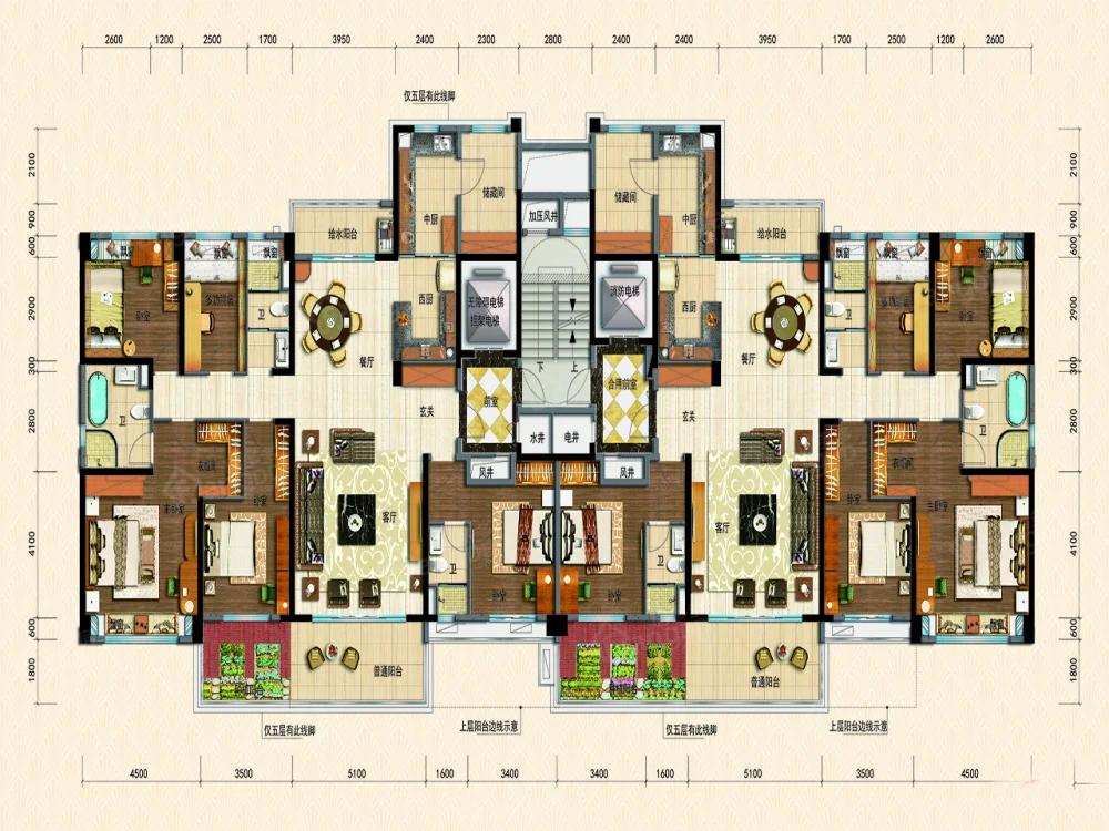 碣石半岛碧桂园5室2厅3卫户型图