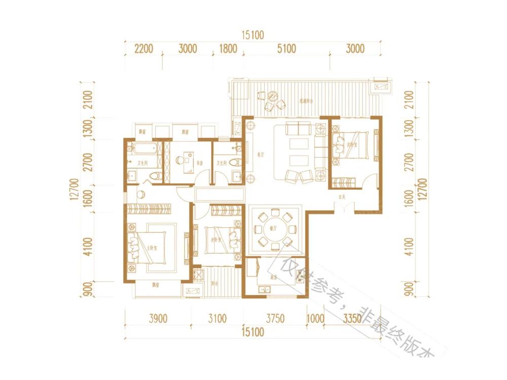 天润乌蒙水乡4室2厅2卫户型图