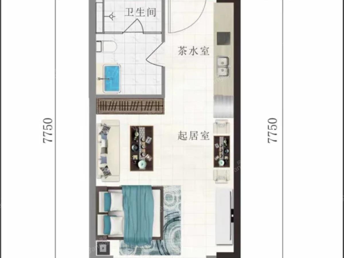 万豪海陵湾1号1室1厅1卫户型图