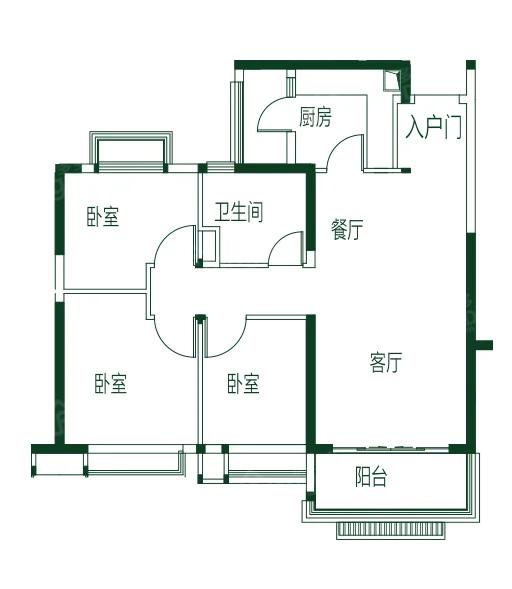 亳州恒大林溪郡3室2厅1卫户型图