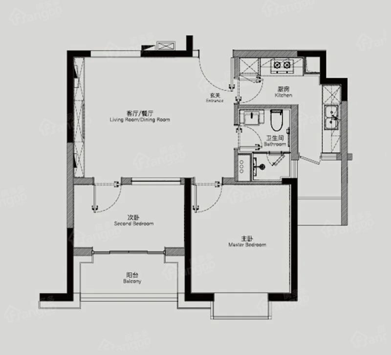 静安天御2室2厅1卫户型图