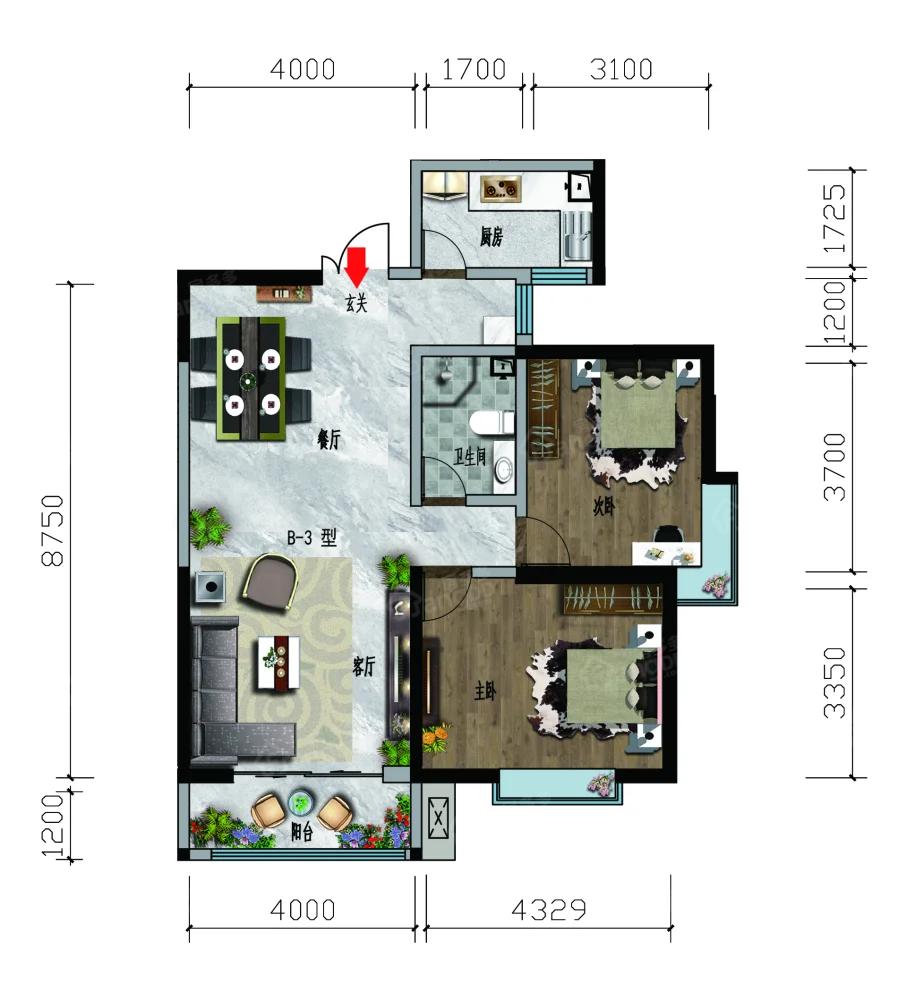 凤凰名都2室2厅1卫户型图