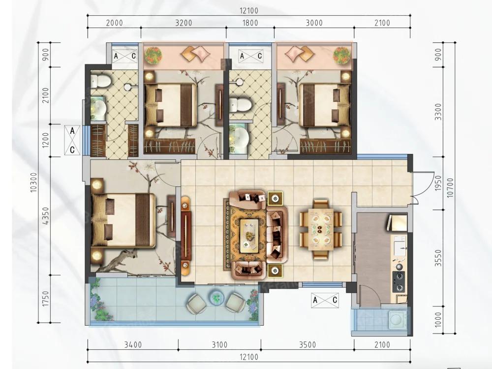 攀东雅居3室2厅2卫户型图