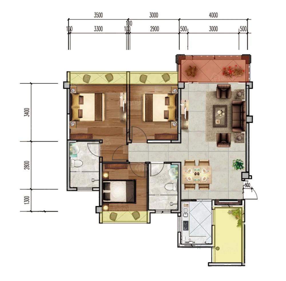 凉都名郡3室2厅2卫户型图