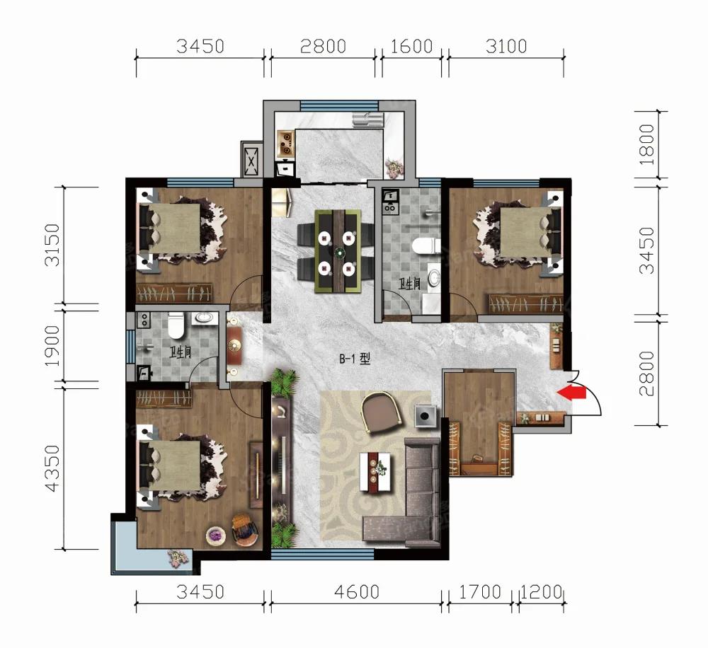 凤凰名都3室2厅2卫户型图