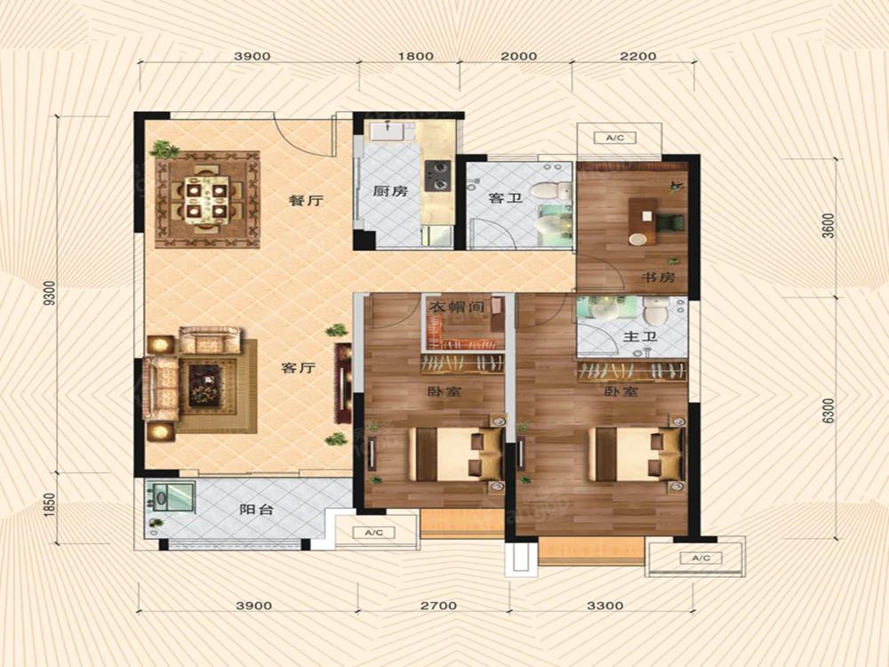 日月星·国际华侨城3室2厅2卫户型图