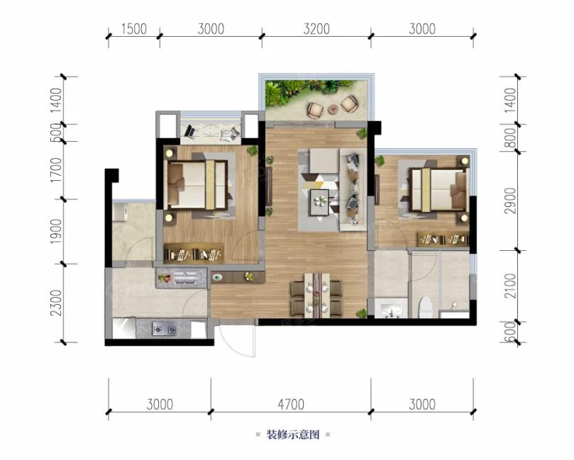 领地阳光花城2室2厅1卫户型图