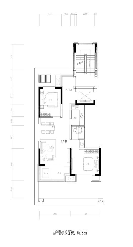 宝能·彩云之上2室2厅1卫户型图