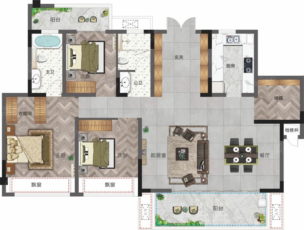 圣桦锦江天玺4室2厅2卫户型图