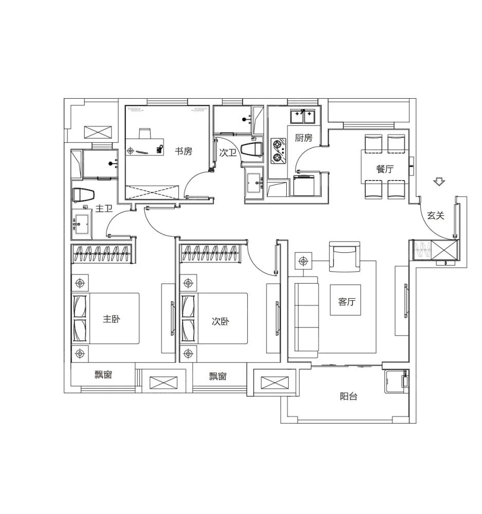 富力乌衣水镇3室2厅2卫户型图