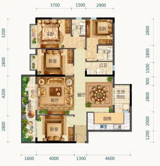 御园中央城4室2厅3卫户型图