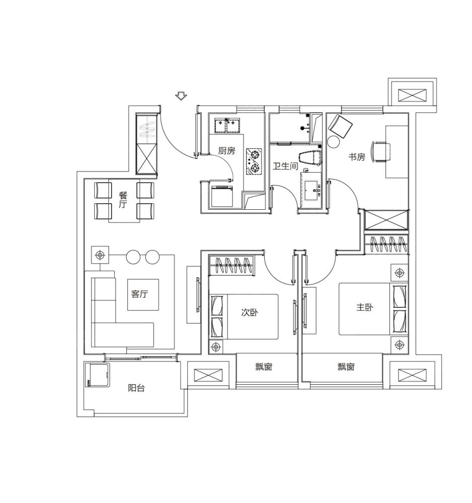 富力乌衣水镇3室2厅1卫户型图