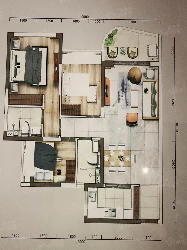 招商东岸3室2厅2卫户型图