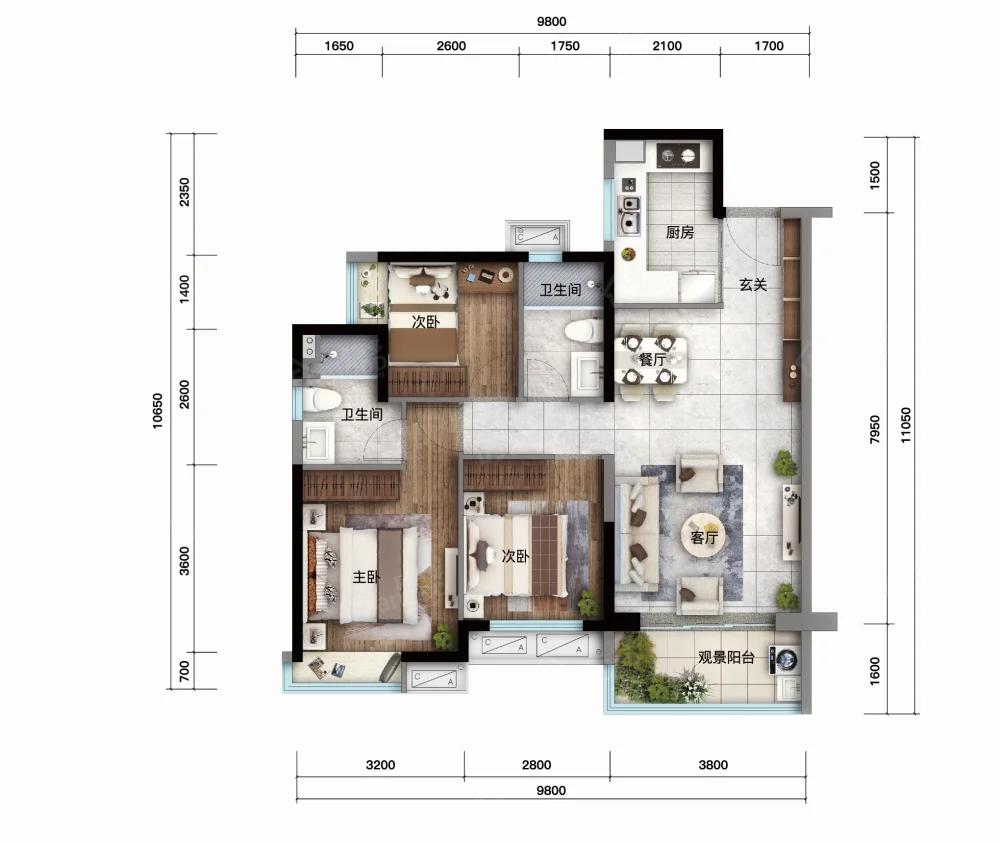 汕尾万象天地3室2厅2卫户型图