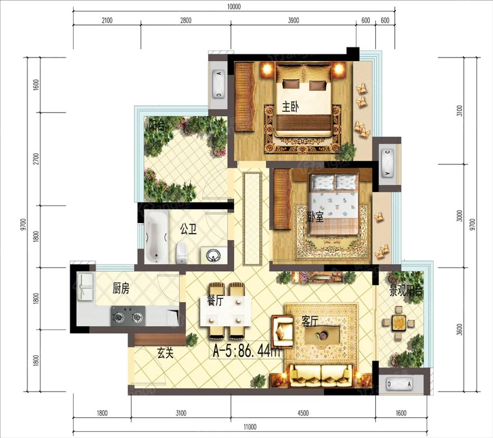 金科集美天樾2室1厅1卫户型图