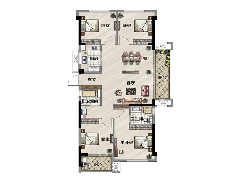 古田三盛·璞悦山河4室2厅2卫户型图