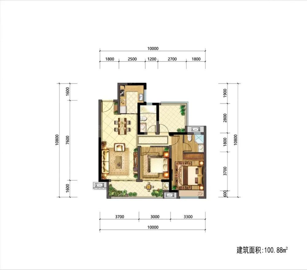 金科集美天樾2室2厅1卫户型图