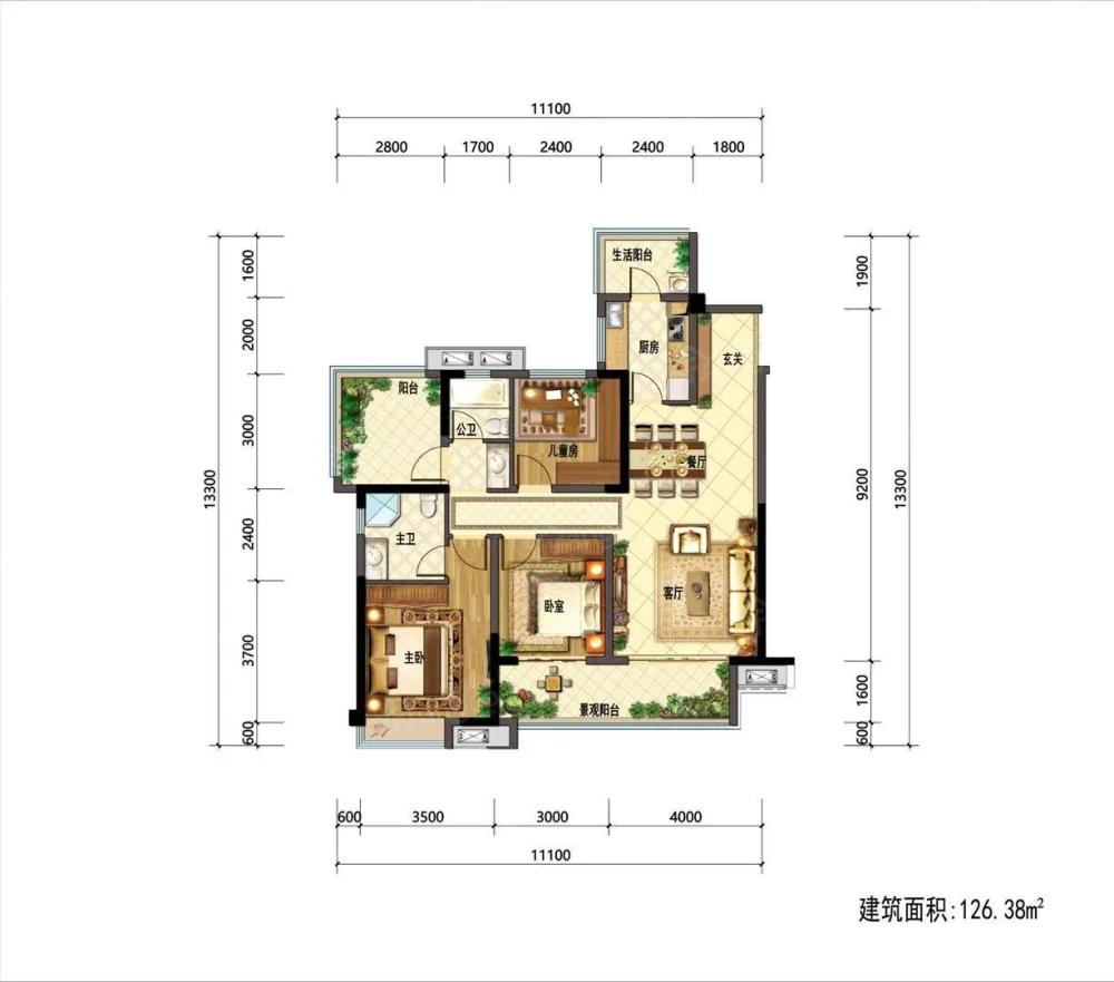 金科集美天樾3室2厅2卫户型图