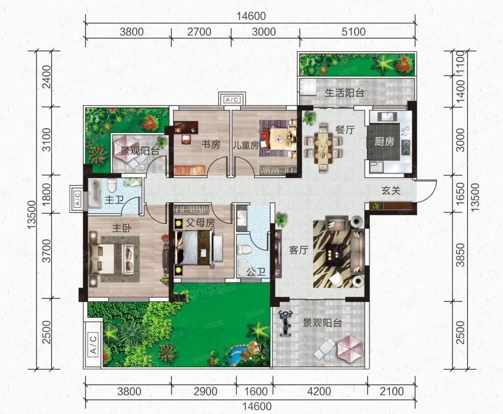 玉林中鼎城5室2厅2卫户型图