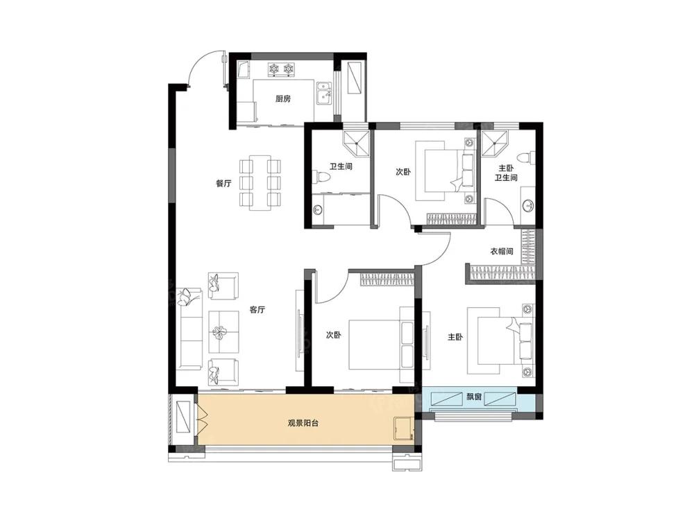 常绿林溪天悦3室2厅2卫户型图