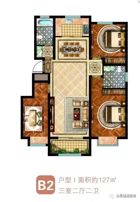 裕昌·莲湖新城3室2厅2卫户型图