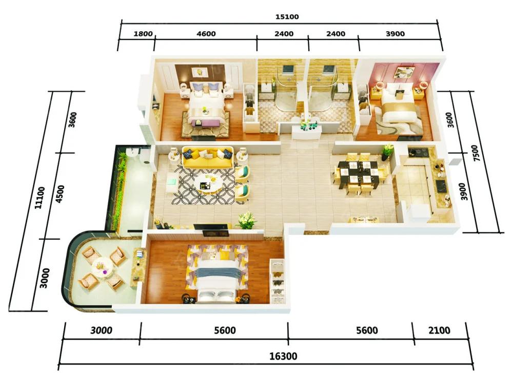 万盛·银时代3室2厅1卫户型图