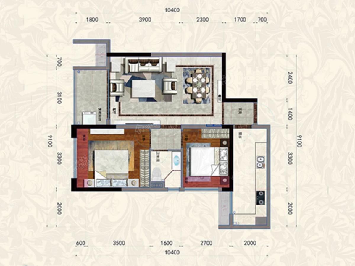家喻五洲名门2室2厅1卫户型图