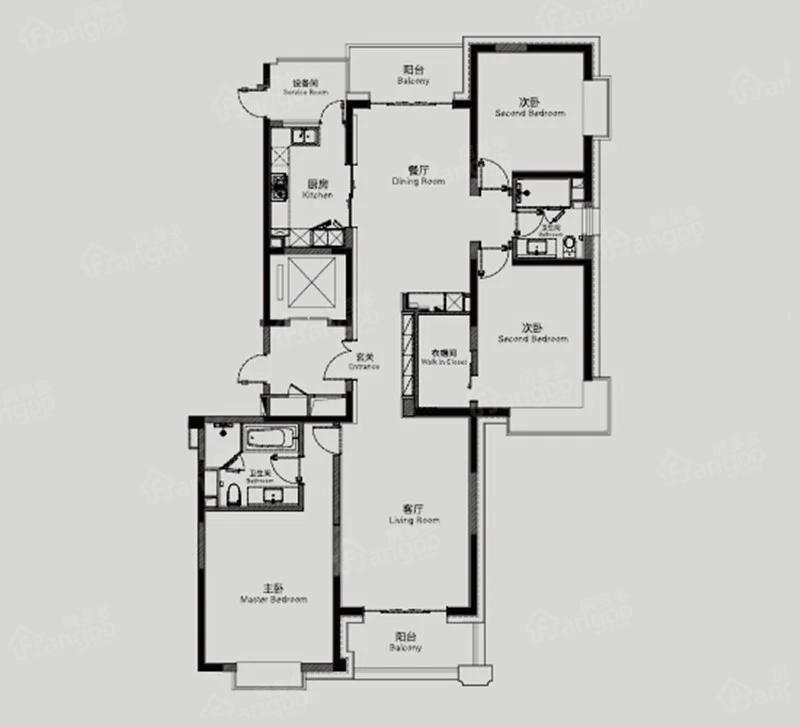 静安天御3室2厅2卫户型图