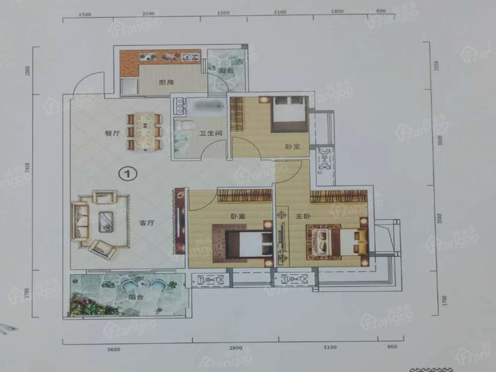 云峰诗意3室2厅1卫户型图