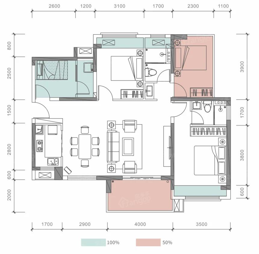 海怡湾4室2厅2卫户型图