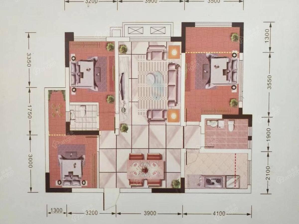 惠民佳苑3室2厅2卫户型图