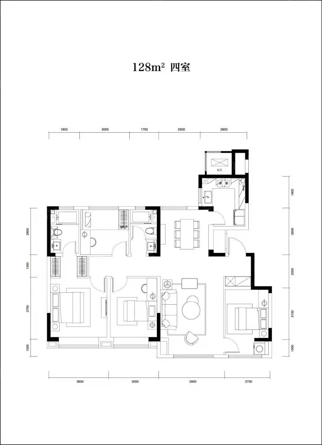 卓越云门4室2厅2卫户型图