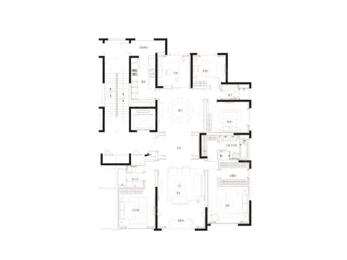 九龙仓滨江壹十八5室2厅3卫户型图