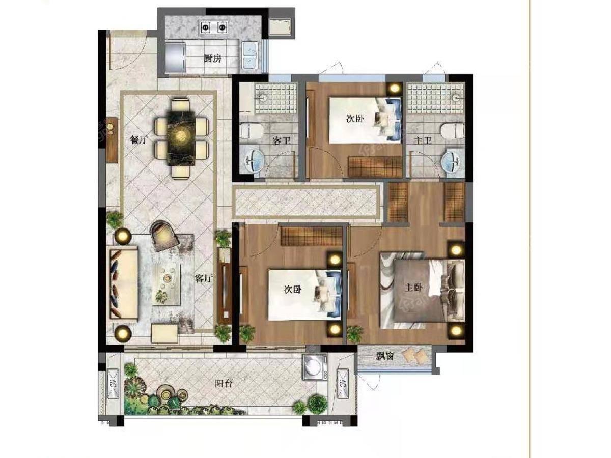 聚龙世茂国风3室2厅2卫户型图