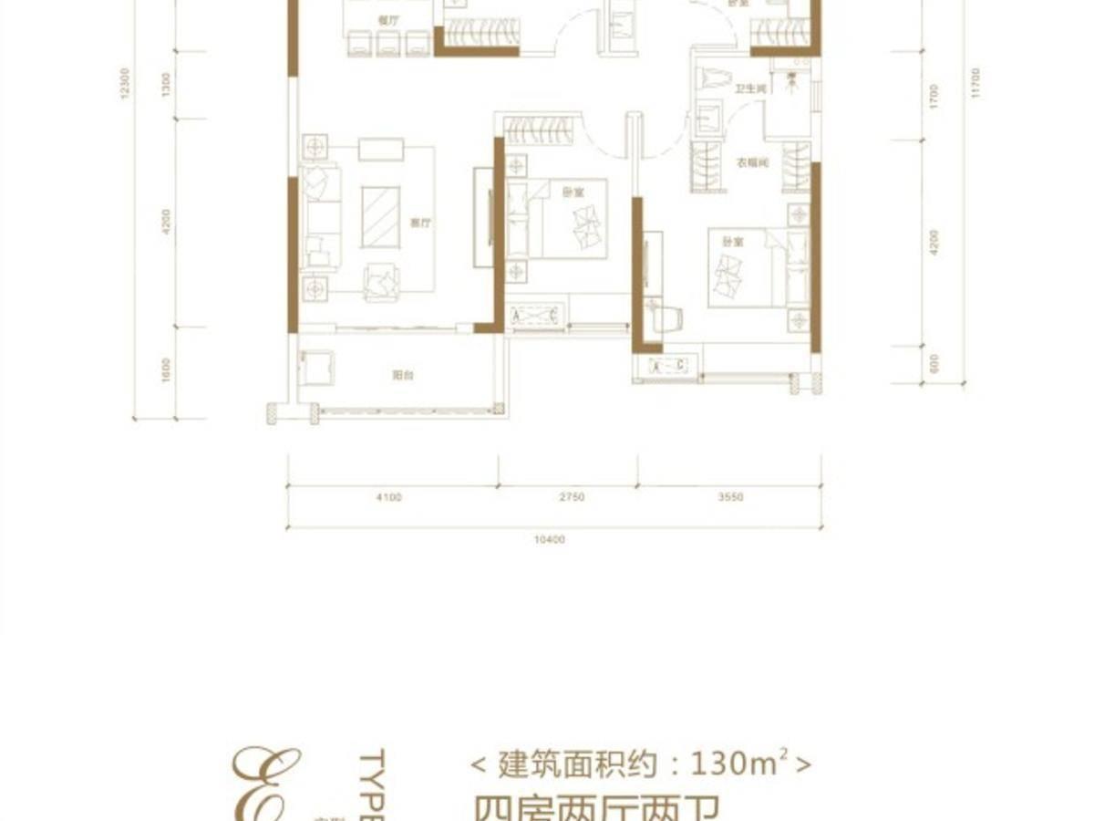 海伦堡汉江府4室2厅2卫户型图