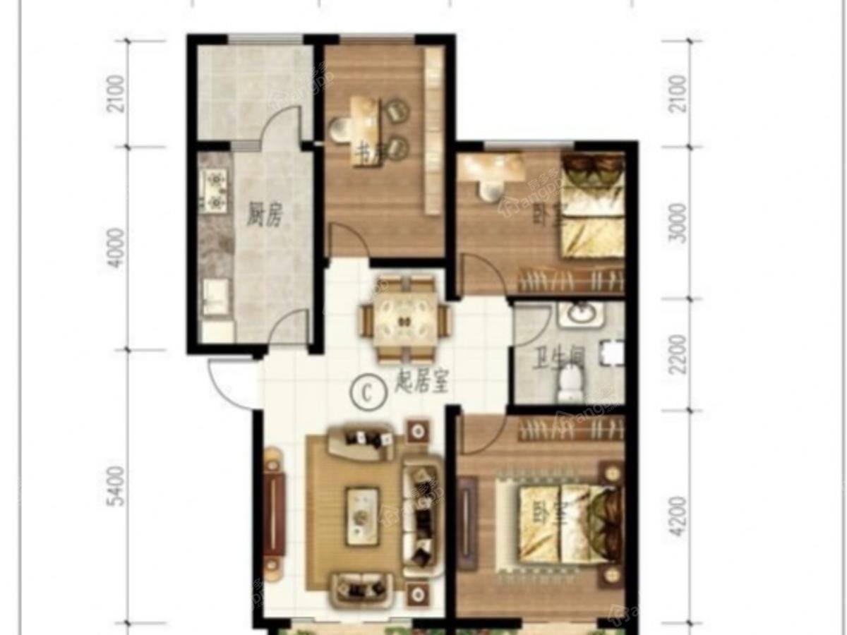 艾博龙园3室2厅1卫户型图