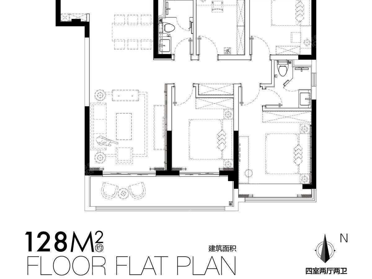美的云筑4室2厅2卫户型图