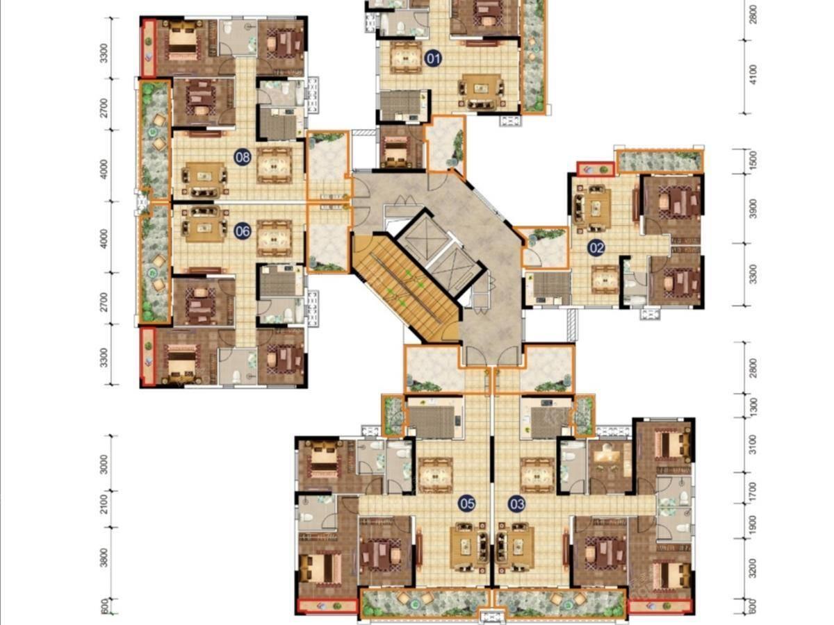 锦绣山水城3室2厅2卫户型图