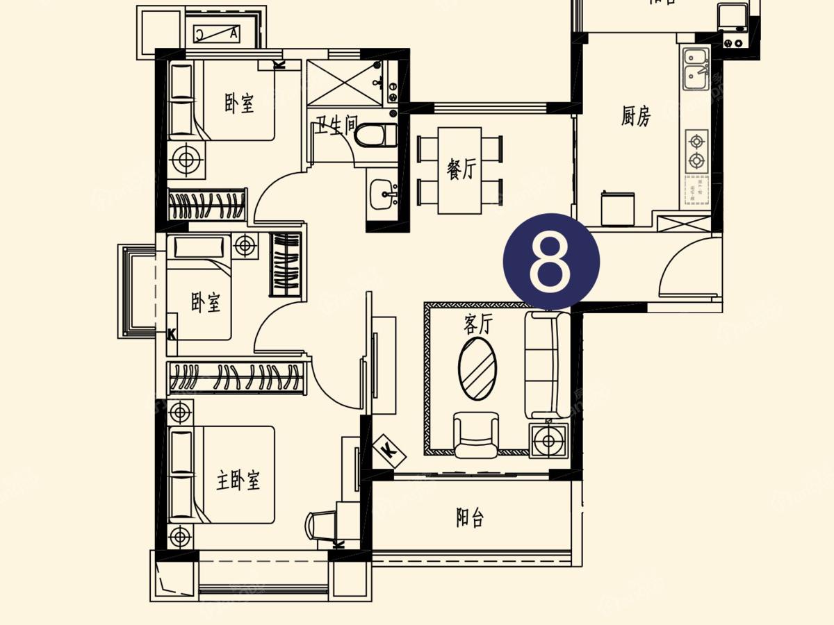 恒大世纪海岸3室2厅1卫户型图