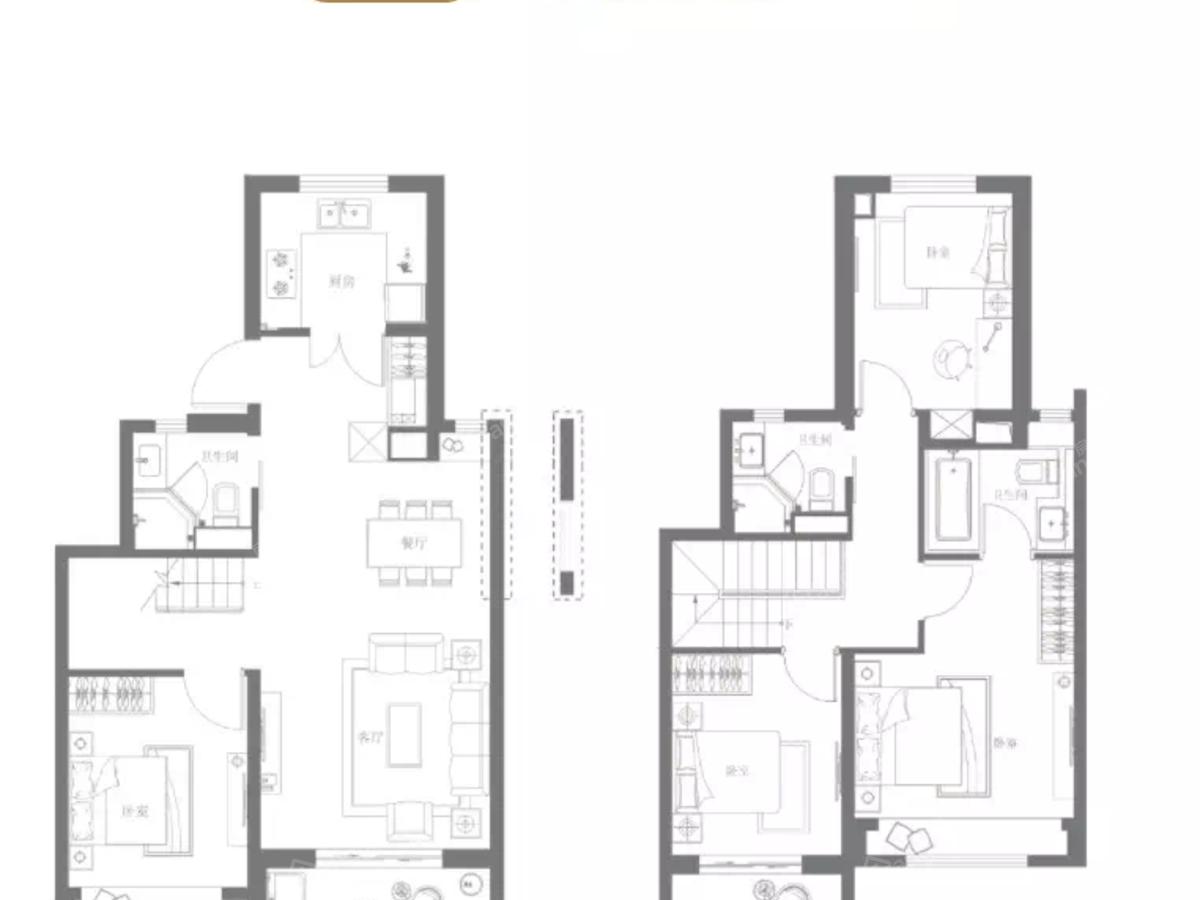 金地·公元20404室2厅3卫户型图