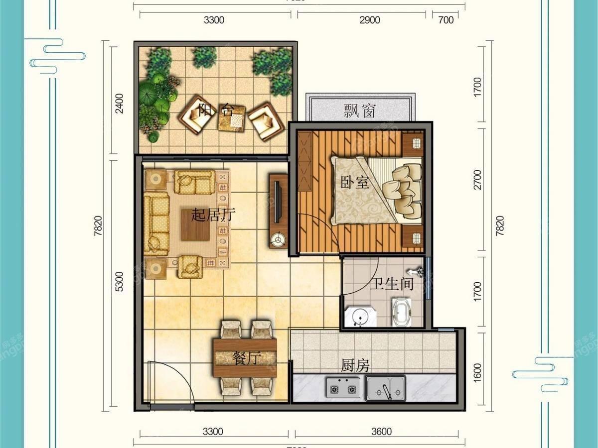 天泉·仙源国际旅游度假区1室1厅1卫户型图