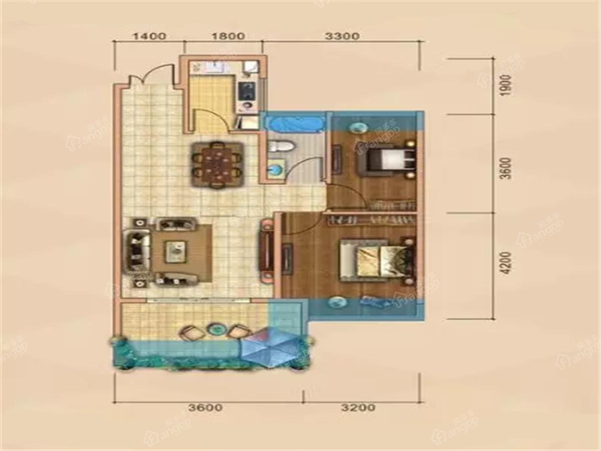 力标添龙湾2室2厅1卫户型图